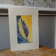 Greetings card hand painted feather design