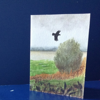Greetings card countryside painting