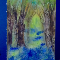 A4 Painting 'Into the Bluebell Wood'