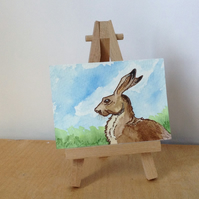 Aceo painting of Hare