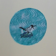 Seagull hand printed card