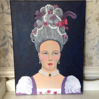 """Acrylic painting """"Cinderelle"""" fairy story character"""