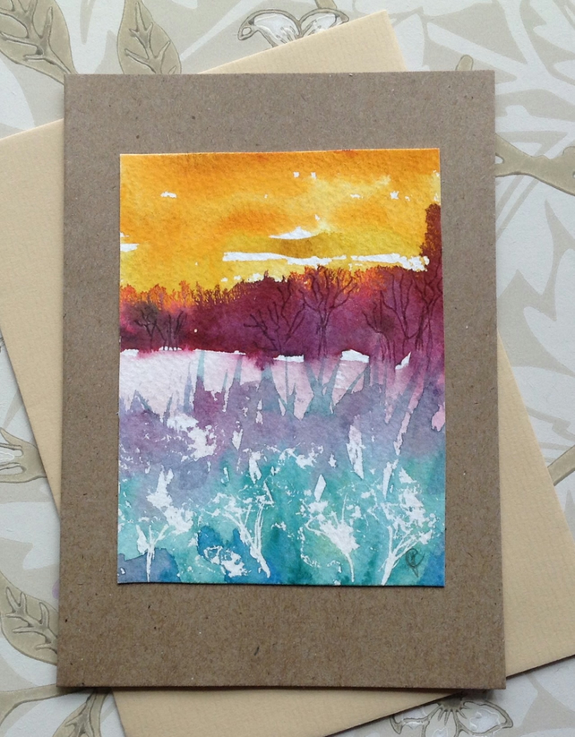 Greetings card hand painted landscape