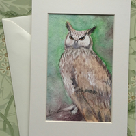 Hand painted 'Eagle Owl' greetings card gift