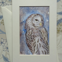 Hand painted greetings card 'Ural Owl'