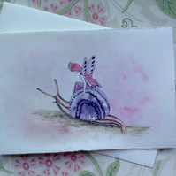 Fairy and Snail greetings card