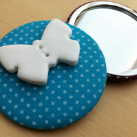 Blue Fabric Covered Pocket Mirror with Butterfly Button
