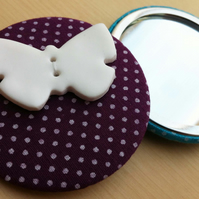Purple Fabric Covered Pocket Mirror with Butterfly Button