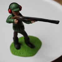 Clay Pigeon Shooting Polymer Clay Cake Topper Figure Made to Order