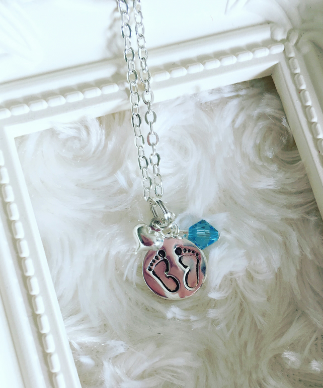 New mum baby boy footprints pendant