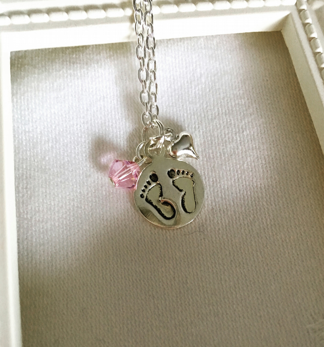 New mum baby girl footprints pendant