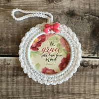 Hand crocheted Bible scripture frame