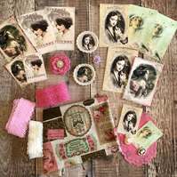French vintage shabby chic style inspiration kit (includes beautiful fabric)