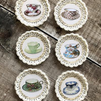 Vintage teacups crocheted images .. 6 x in pack