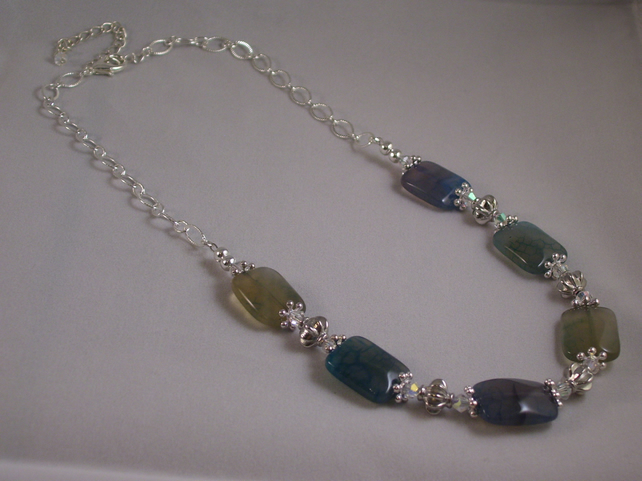 Shades of Blue Agate Necklace