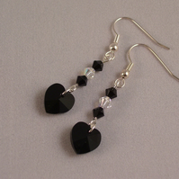 Black Heart Swarovski Crystal Earrings