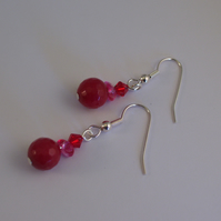 Red Bead, Chip and Swarovski Crystal Earrings