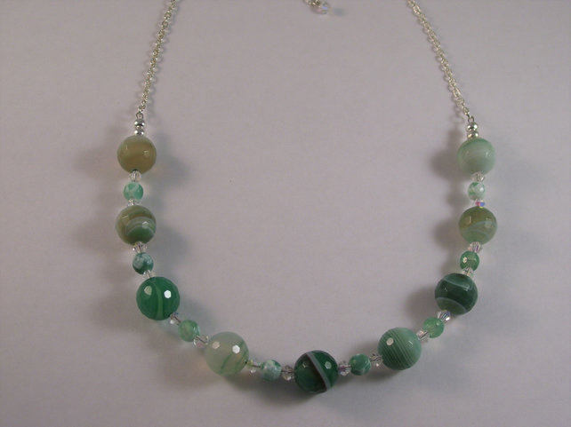 Green Agate and Swarovski Crystal Necklace