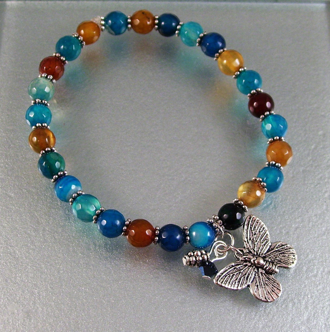 Stretchy Blue and Brown Agate Bracelet With Butterfly Charm