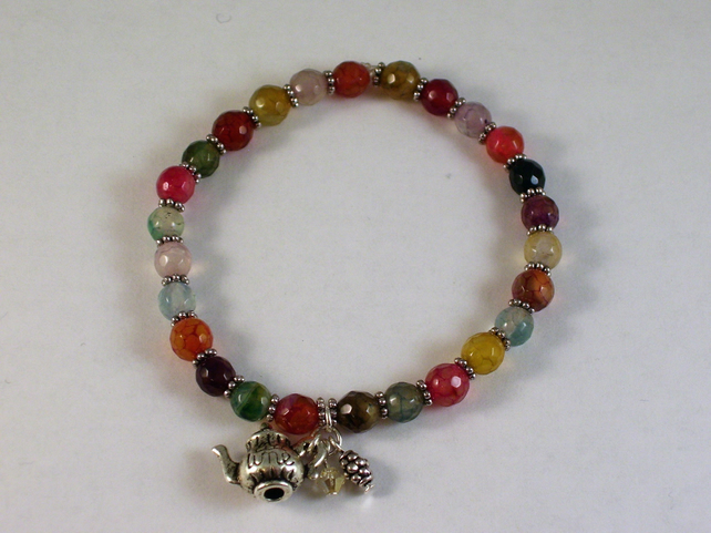 Stretchy Multi-Coloured Agate Bracelet With Tea Pot Charm