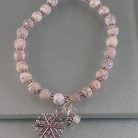 Stretchy White Agate Bracelet With Snowflake Charm