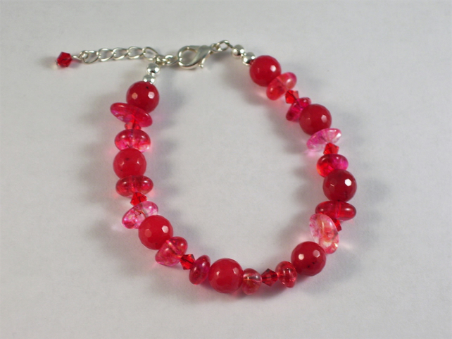 Red Semi-Precious and Swarovski Crystal Bracelet
