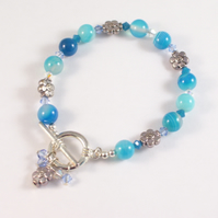 Blue Agate and Flower Toggle Bracelet