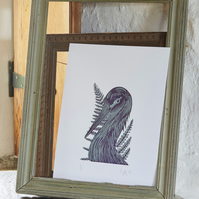 Crane and Fern (Limited Edition Lino Print)