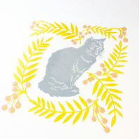 Cat and Rowan Linocut Print