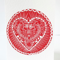 Folk Art Linocut card