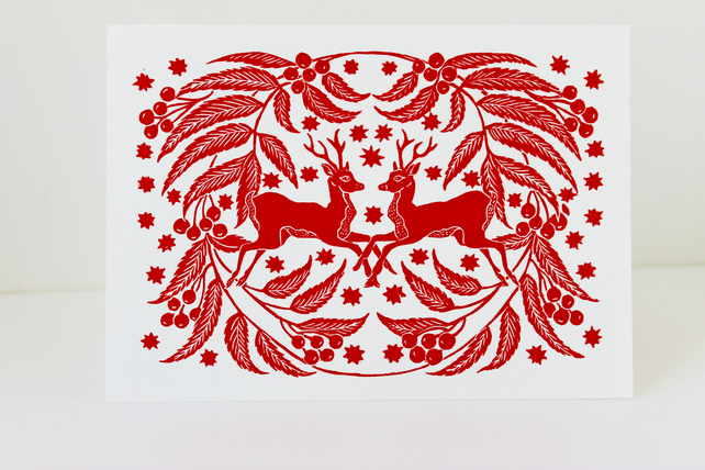 Christmas Cards To Print.Pack Of Two Red Deer Lino Print Christmas Cards