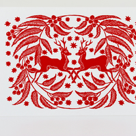 Pack of two Red Deer lino print Christmas cards