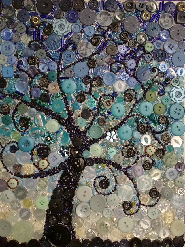 Tree At Dusk Canvas Art Made With Buttons And Folksy