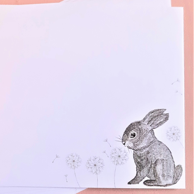 6 cute bunny notecards with envelopes