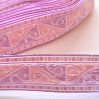Lilac and pink woven ribbon braid, 20mm wide