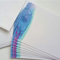 8 correspondence notecards with envelopes watercolour pattern