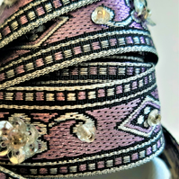 Lilac and silver woven and sequin embellished ribbon braid, 21mm wide
