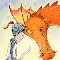 'Dragon Face-off'  Fine Art Giclee Print, signed.
