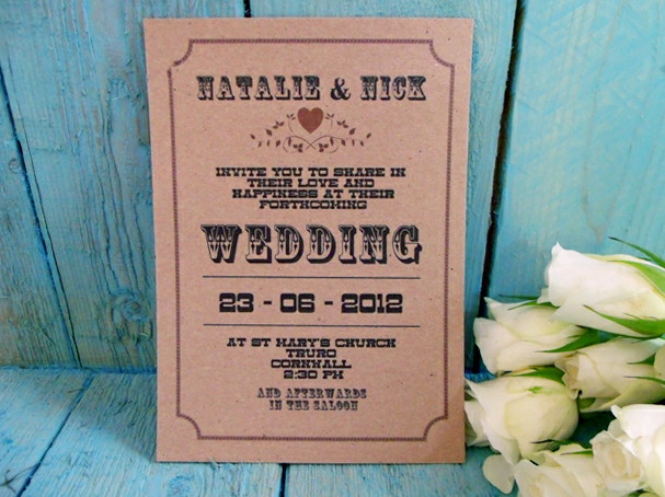 Western Country Style Rustic Wedding Invitation Sample