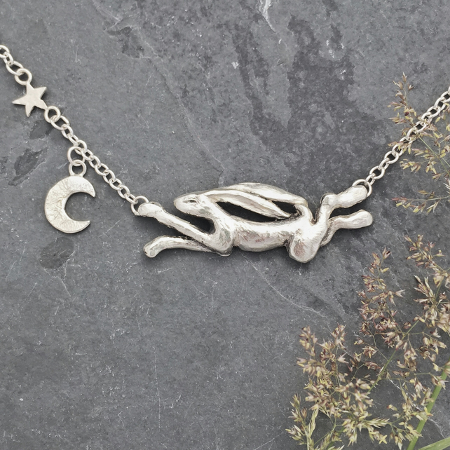 Sterling Silver Hare 'Celeste' catching the stars and moon