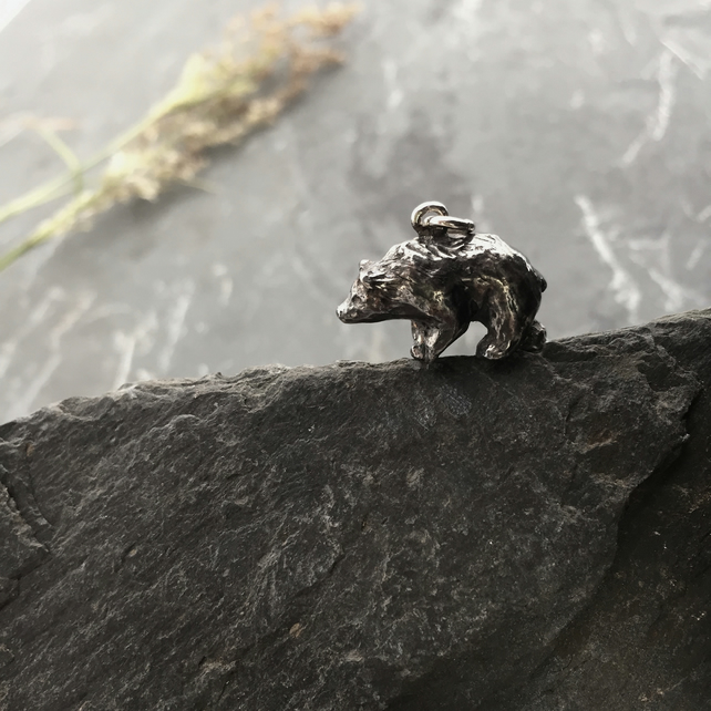 Eric the bear, Sterling silver charm