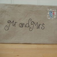 Mr & Mrs fabric envelope