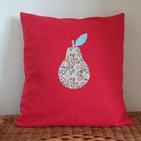 Appliqued pear cushion