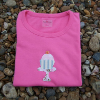 3-4 years pink cake applique t-shirt