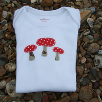 3-6 month toadstool applique baby vest