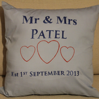 2nd Anniversary or Wedding Cushion (Personalised)