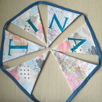 Personalised World Map and Cloud Bunting 2m (including postage and packaging)