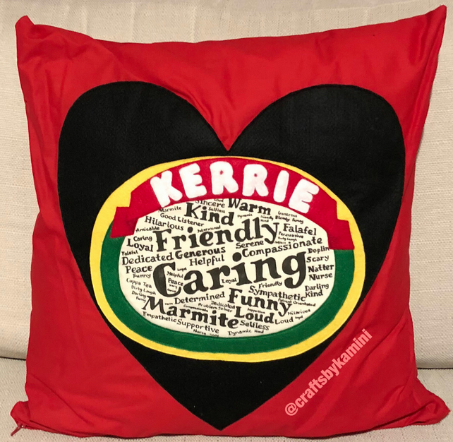 Personalised marmite style heart cushion