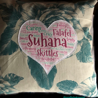 Personalised word cloud cushion  (including postage and packaging)