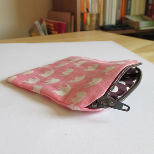 Pink Elephant Cotton Purse
